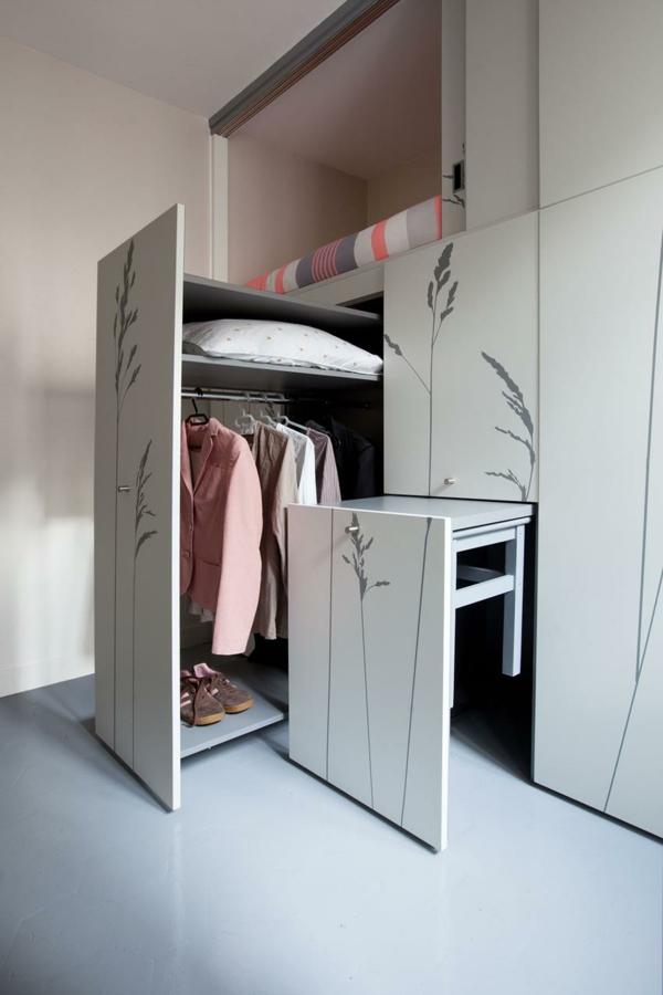 kleines apartment einrichten paris ausziehbare fächer