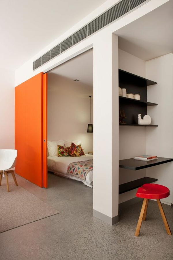 Schon Kleine Wohnung Einrichten Schiebetür Schlafzimmer Abtrennen