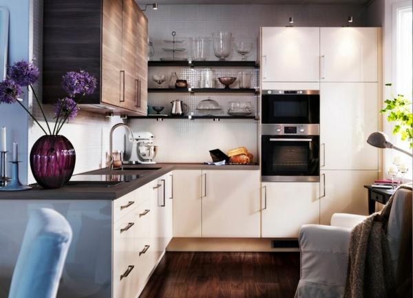 kleine wohnungen einrichten küche gestaltungsideen mosaikfliesen