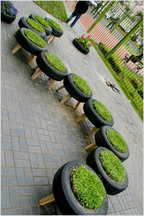 kreative wohnideen alte autoräder pflanzenbehälter