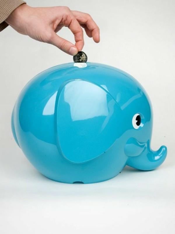 lustige spardosen blaues schwein geld sparen