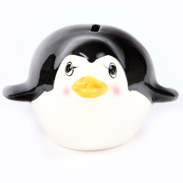 lustige spardosen designs sympathischer pinguin