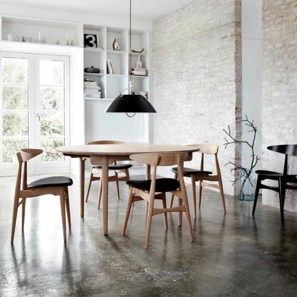 Möbel Retro Esszimmer Stühle Ziegelwand