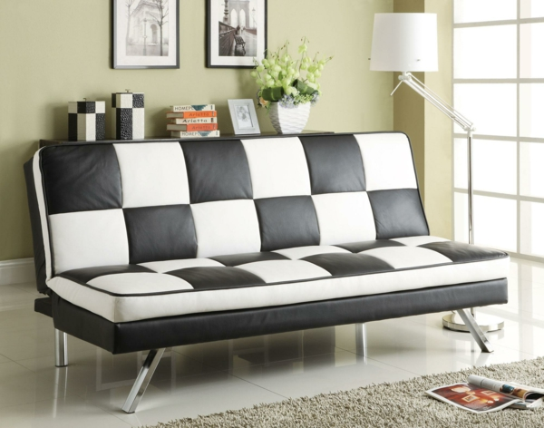 möbel retro wohnzimmer sofa weiß schwarz
