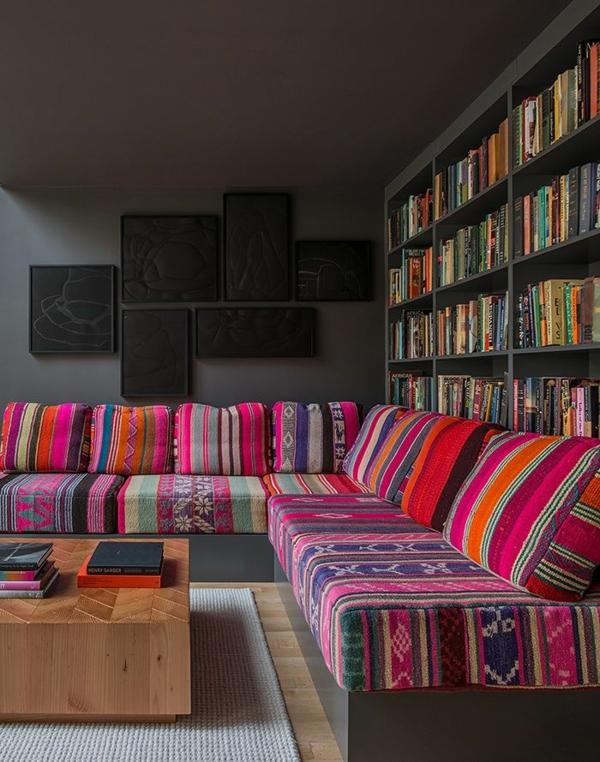 möbelstoffe farbige dessins kunterbunt wohnzimmer sofa