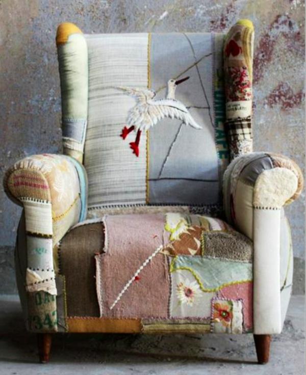 möbelstoffe farbige dessins patchwork polstersesel alte möbel restaurieren