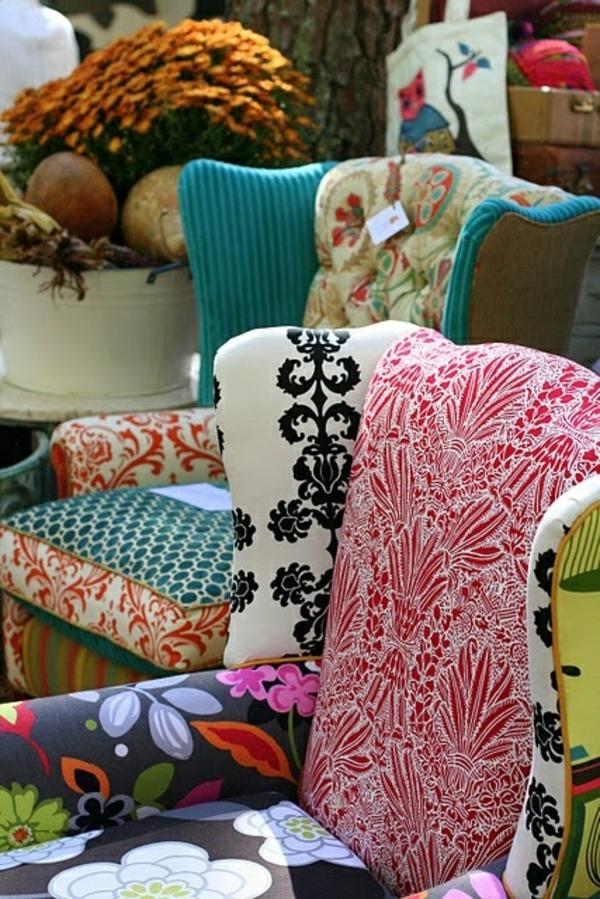 möbelstoffe farbige dessins polstersesel alte möbel restaurieren