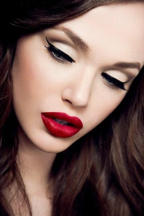 make up tipps augen eyer liner roter lippenstift