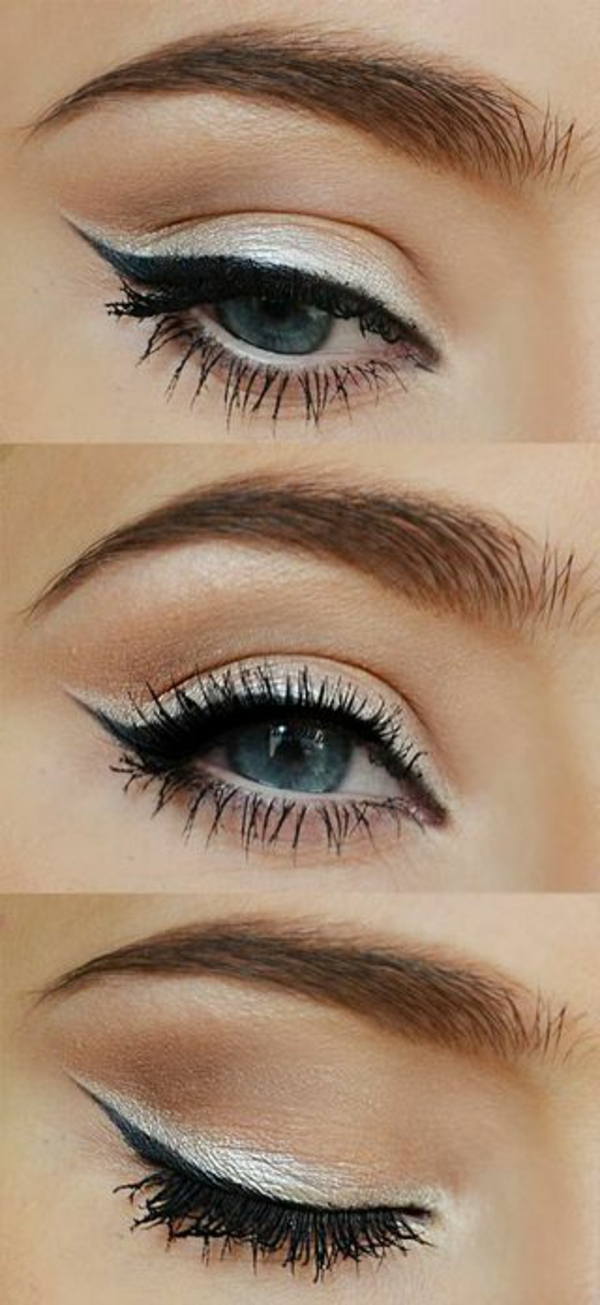 make up tipps augen schwarzer eyer liner silberne lidschatten