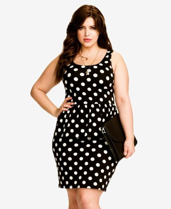mode für mollige junge damen schwarzes kleid weiße punkte