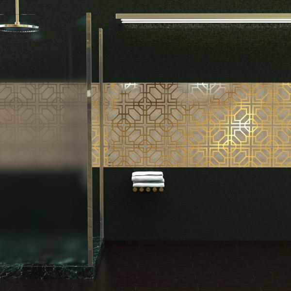 moderne fliesen decotal badezimmer klassische muster gold