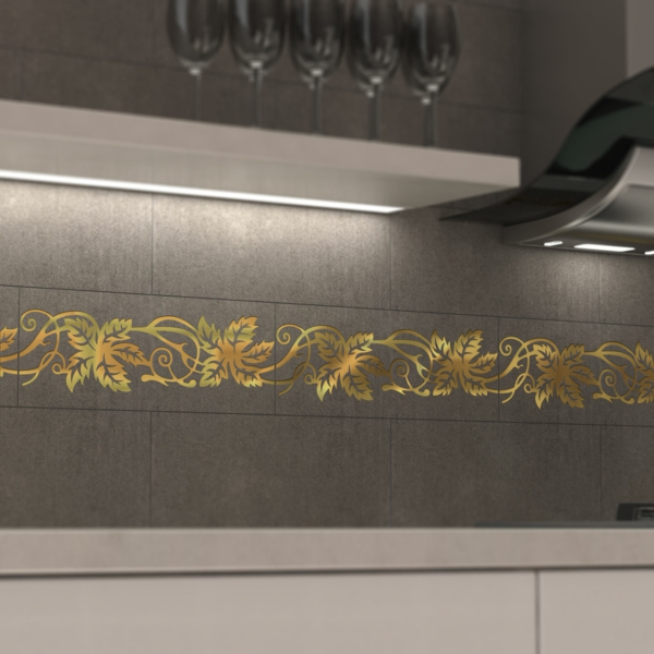 innovative fliesen decotal muster grau gold weinrebe