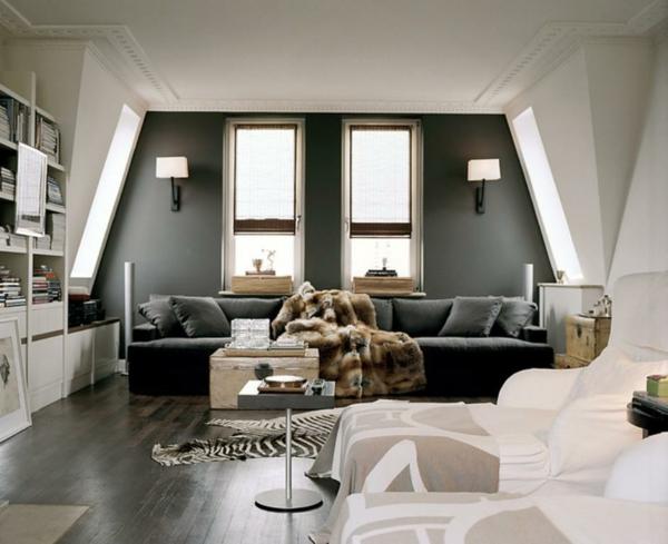 moderne wandfarben wohnzimmer grau weiß