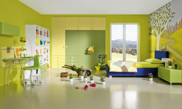neue wandfarben grüngelb kinderzimmer