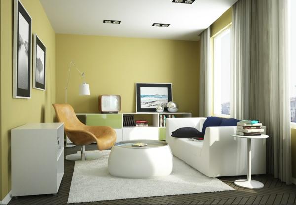 Moderne Wandfarben Grüngelb Wohnzimmer Skandinavisch