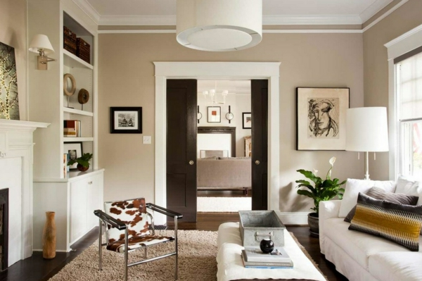 moderne wandfarben hell beige wohnzimmer