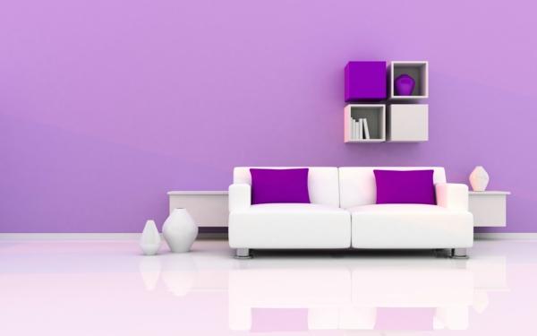 neue wandfarben violett minimalistisch weiße möbel