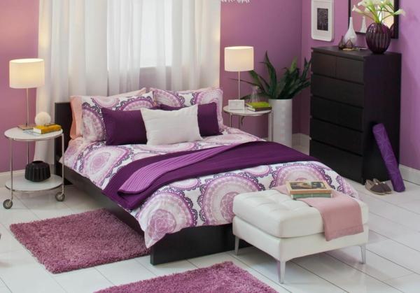 moderne wandfarben violett pastell weißer boden