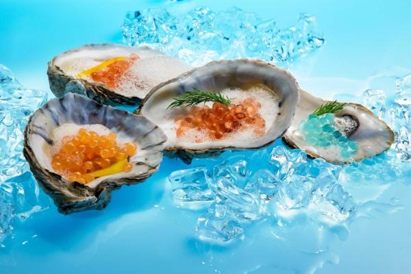 molekulare küche gefüllte austern kaviar