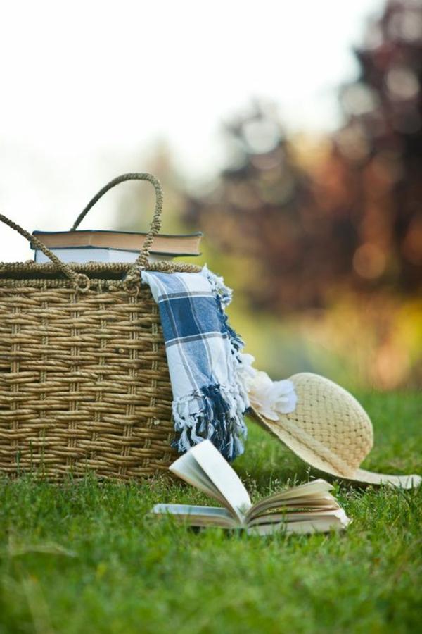 natur genießen freizeit picknickdecke blaunuancen