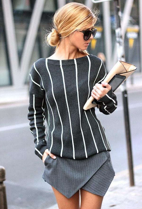 neue modetrends dunkle farben vertikale streifen styling tipps