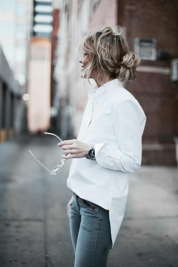 neue modetrends  schlanke figur weißes frauenhemd
