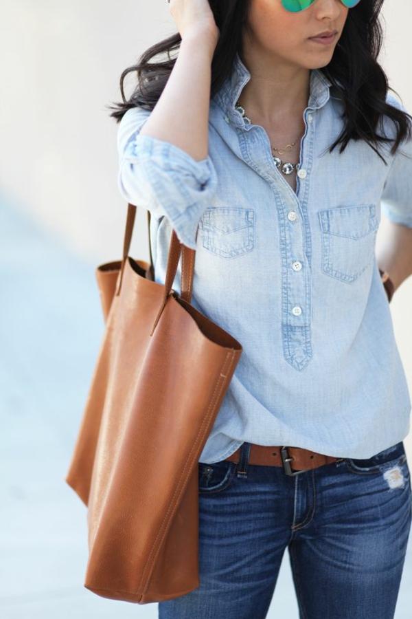 neue modetrends styling tipps jeanshemd jeanshose hohe taile