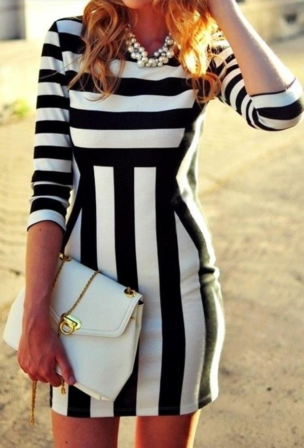 neue modetrends vertikale streifen schwarz weiß styling tipps