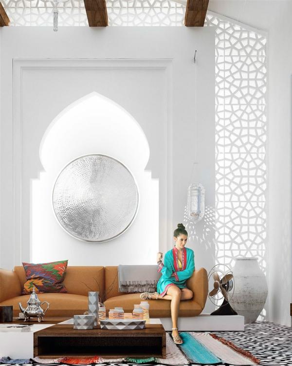 orientalische ornamente ledersofa fensterarkaden