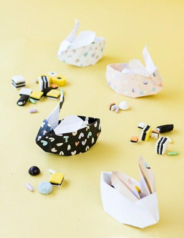 origami osterhase origami anleitung osterdeko basteln osterhase korb mit süßigkeiten