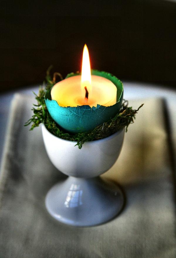 osterkerzen eierschale eierbecher moos
