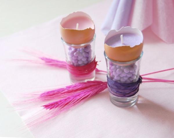 osterkerzen eierschalen bunte perlen gläser