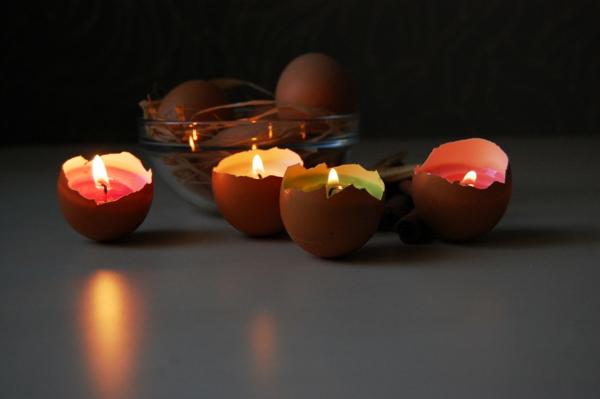 osterkerzen eierschalen buntes wachs brennend