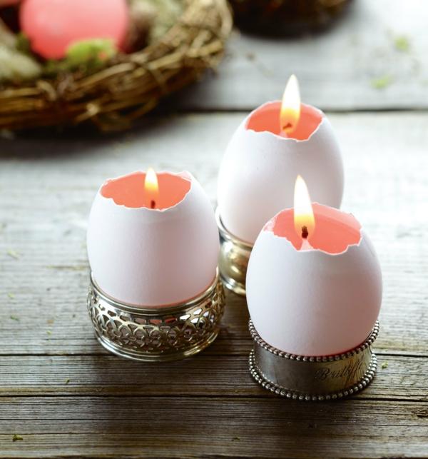 osterkerzen eierschalen weiß serviettenringe silber