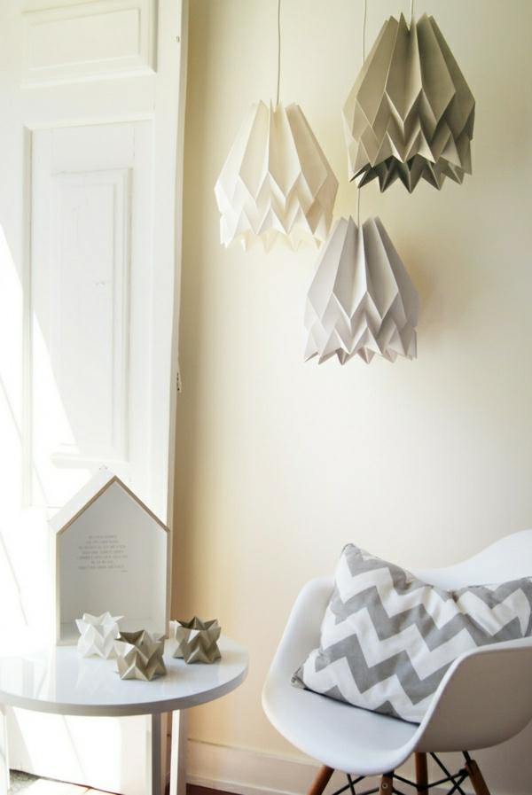 Papier lampenschirm l sst das zimmer gro artiger erscheinen for Origami zimmer deko