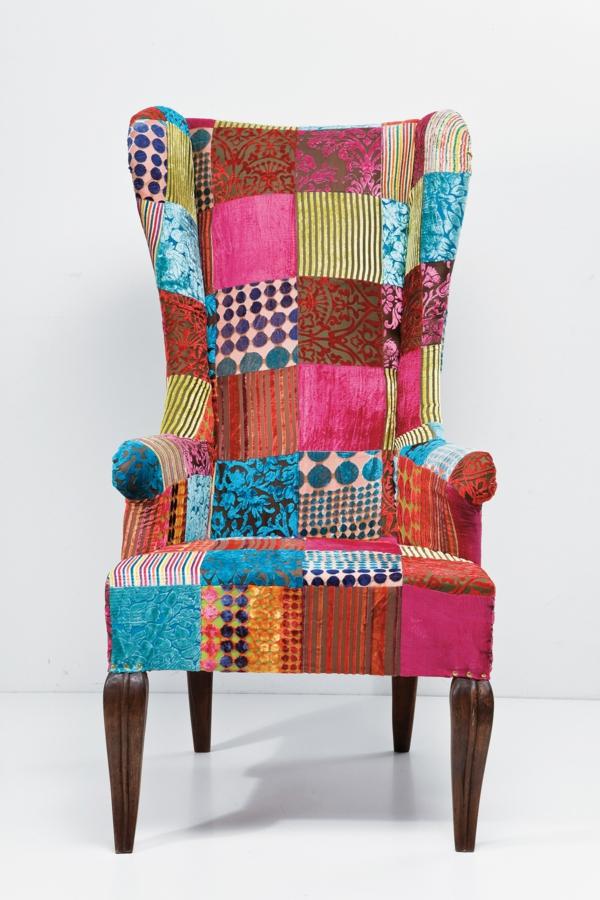 patchwork stoff ausgefallenes sofa innendesign
