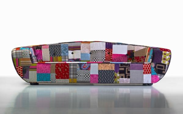 patchwork stoff tolles sofa wohnzimmer innendesign