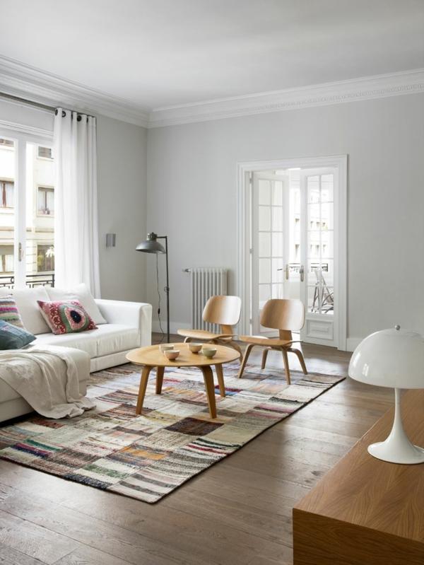 patchwork stoffe wohnzimmer interieur teppich dekokissen