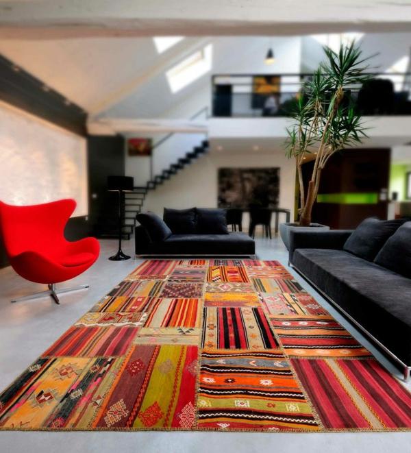 patchwork stoffe zuhause wohnzimmer teppich