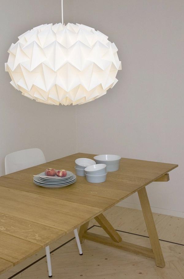 pendelleuchte papier lampenschirm esstisch geschirr
