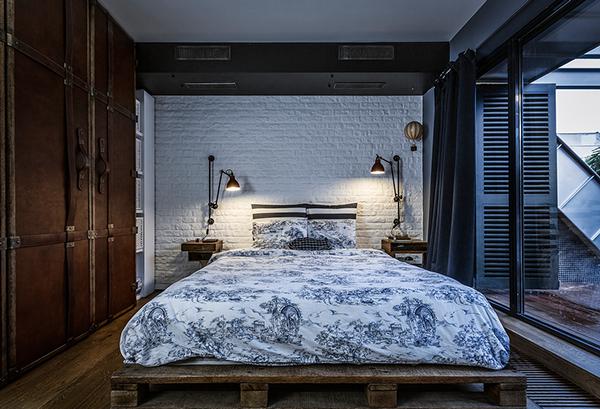 penthouse wohnung schlafzimmer europalette bett