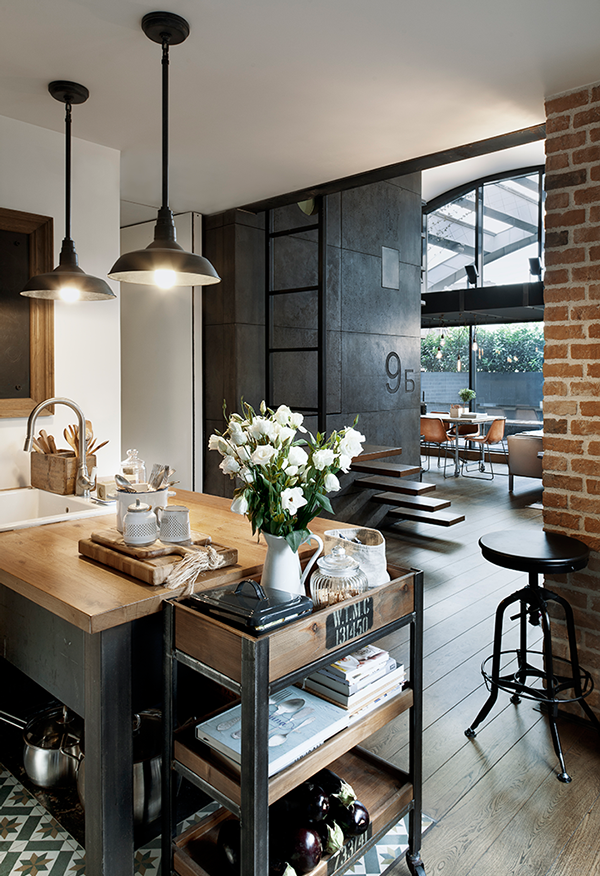 penthousewohnung sofia industrielle pendelleuchten küche