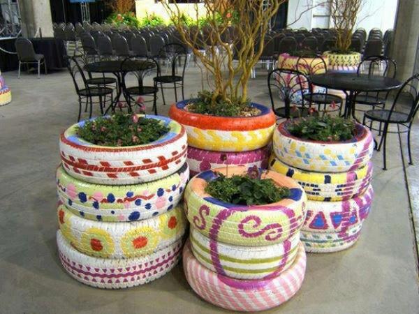 pflanzenbehälter autoräder farbig strahlen exterieur