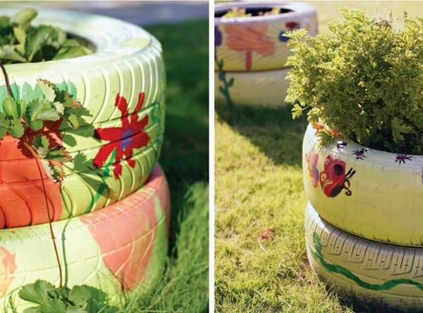 pflanzenbehälter interessant farbig alte autoräder