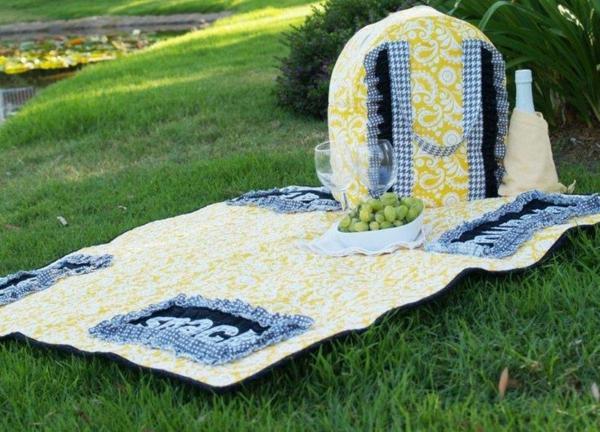 picknickdecke design essen wein natur