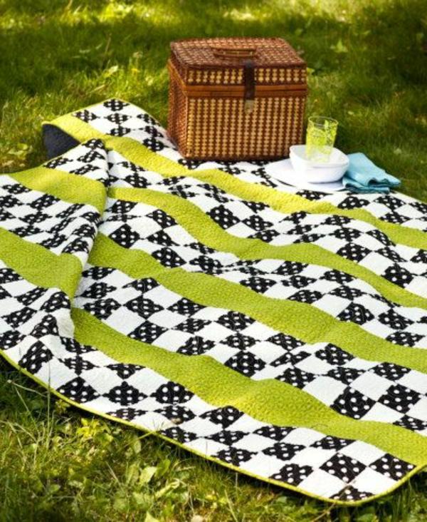 picknickdecke frisches muster weiß schwarz grüne streifen