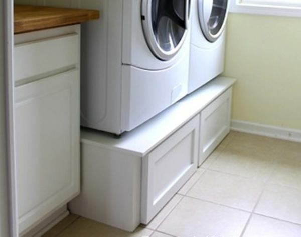 praktischer wäschekorb holz unterschrank schubladen waschküche einrichten
