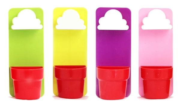 rainy pot verschiedene farben wand blumentopf hängend wolken