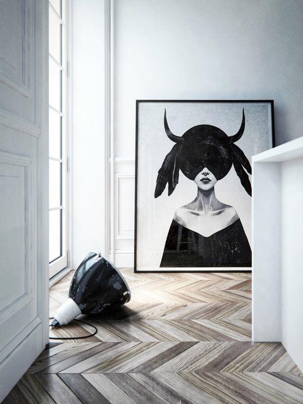 raumgestaltung ideen wandgestaltung mit bildern große wandgemälde schwarz weiß