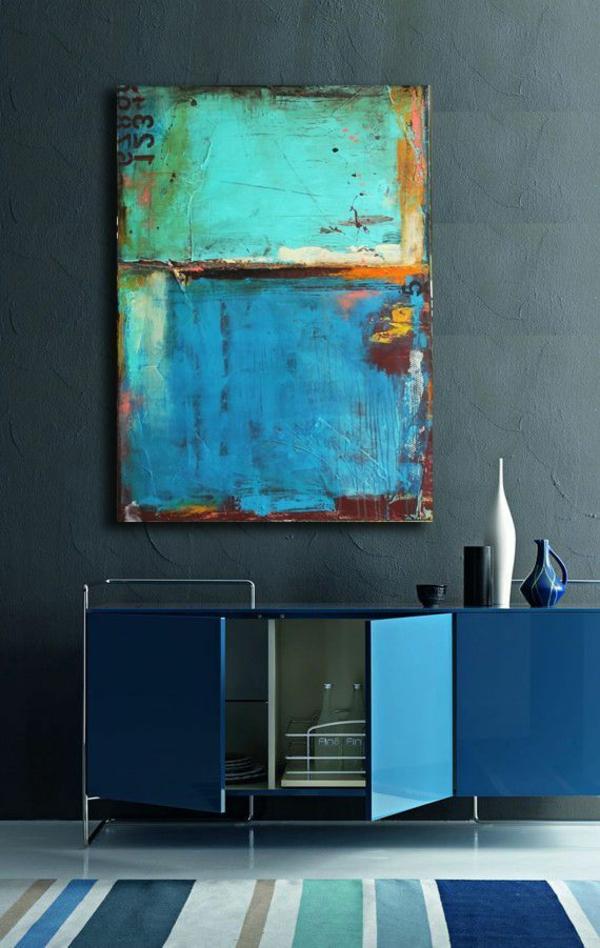 raumgestaltung ideen wandgestaltung mit farben dunkelblau großes wandgemälde